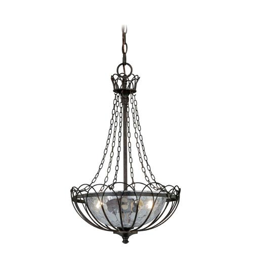 Novara Aged Walnut Two-Light Bowl Pendant with Water Glass