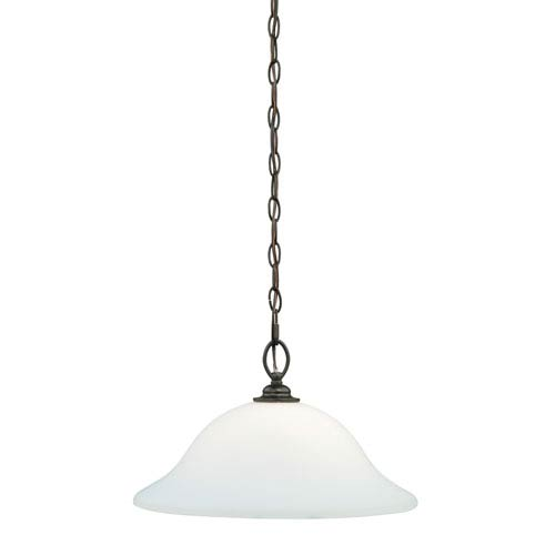 Vaxcel Concord Oil Rubbed Bronze One-Light Pendant with Etched White Glass