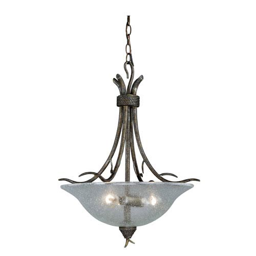 Monterey Autumn Patina Three-Light Bowl Pendant with Clear Glass