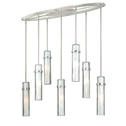 Vaxcel Vilo Satin Nickel Seven-Light Linear Pendant with Outer Water Glass