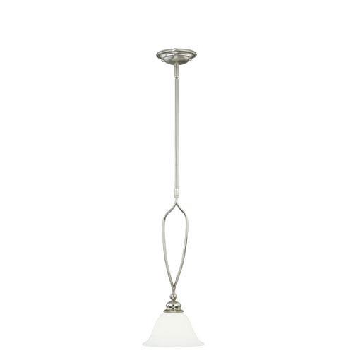 Vaxcel Cordoba Satin Nickel 8-Inch Wide One-Light Mini Pendant with Etched White Glass