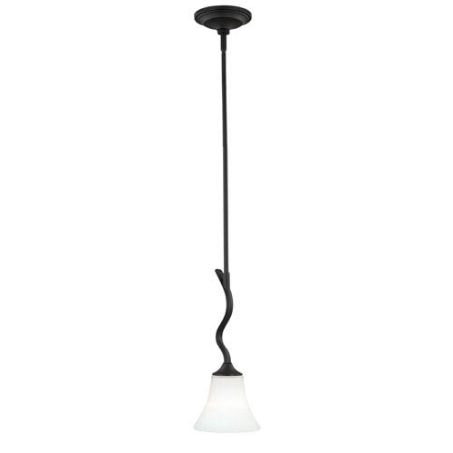 Vaxcel Cordoba Noble Bronze One-Light Mini Pendant with Etched White Glass