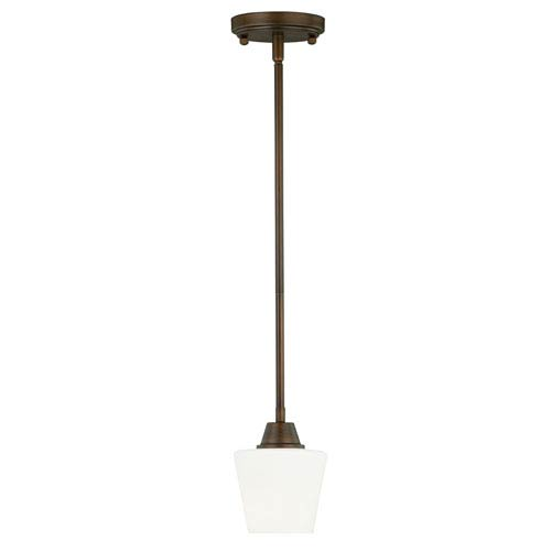 Vaxcel Calais Venetian Bronze 5-Inch Wide One-Light Mini Pendant with Frosted Opal Glass