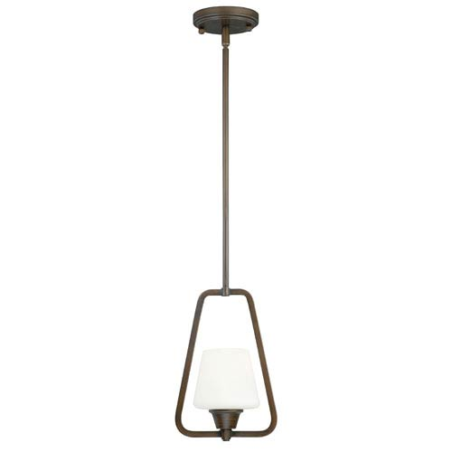 Vaxcel Calais Venetian Bronze 7.5-Inch Wide One-Light Mini Pendant with Frosted Opal Glass