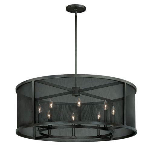 Wicker Park Warm Pewter Eight-Light Drum Pendant