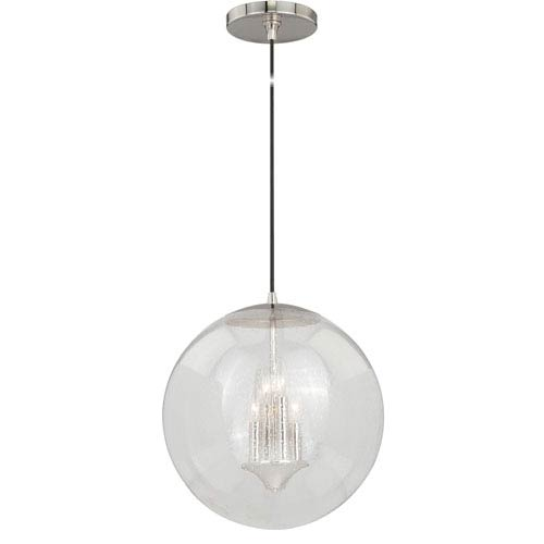 Vaxcel 630 Series Polished Nickel 16-Inch Pendant with Clear Seeded Glass