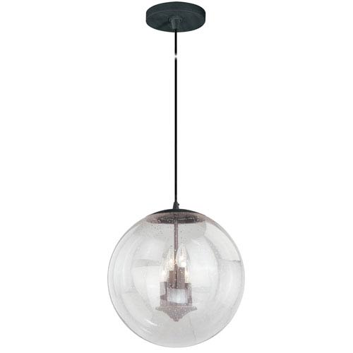 Vaxcel 630 Series Black Iron 16-Inch Pendant with Clear Seeded Glass