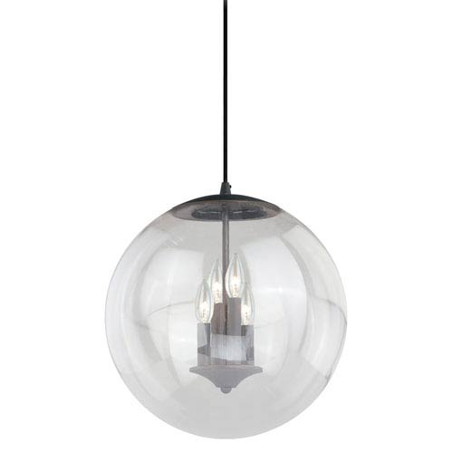 630 Series Black Iron 16-Inch Pendant with Clear Glass