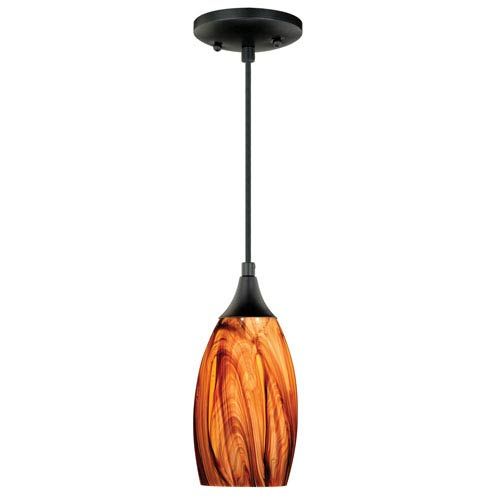 Milano Oil Rubbed Bronze One-Light Mini Pendant with Smoky Fire Glass