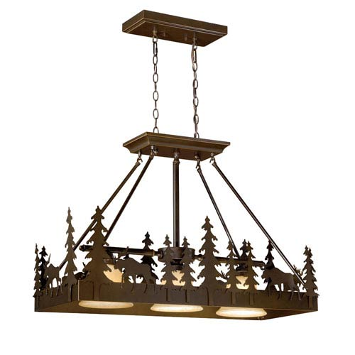 Yellowstone Burnished Bronze Three-Light 36-Inch Kitchen Island Pendant