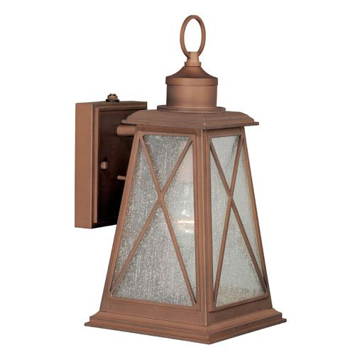 Vaxcel Mackinac Antique Red Copper 7-Inch Wide One-Light Outdoor Wall Sconce with Seeded Glass