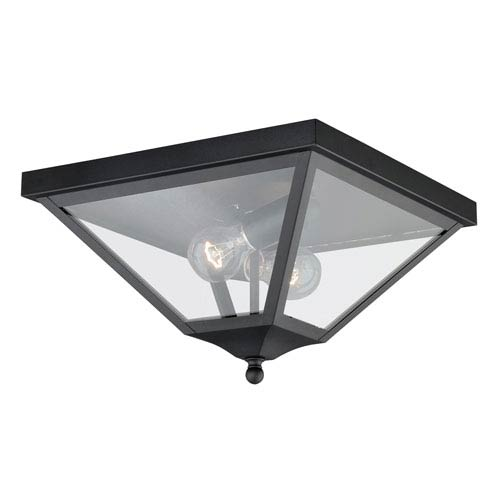 Nottingham Textured Black 13-Inch Outdoor Flush Mount