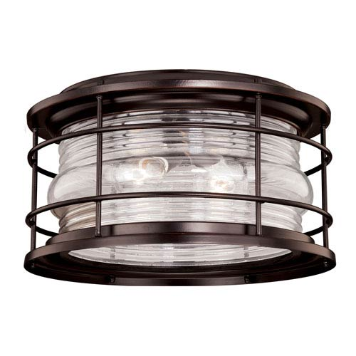 Hyannis Burnished Bronze Two-Light Outdoor Flush Mount