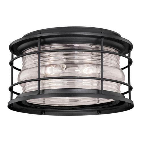 Hyannis Textured Black Two-Light Outdoor Flush Mount