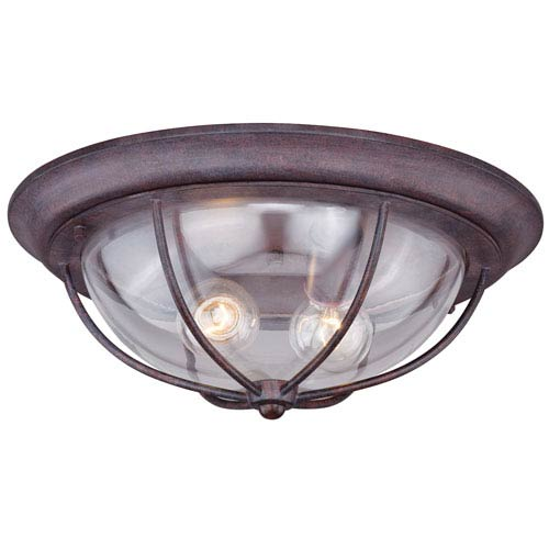 Dockside Weathered Patina Two-Light Outdoor Flush Mount