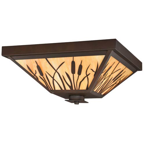 Bulrush Burnished Bronze Three-Light Outdoor Flush Mount