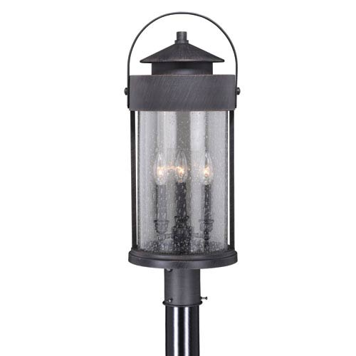 Vaxcel Cumberland Rust Iron 10-Inch Three-Light Outdoor Post Light