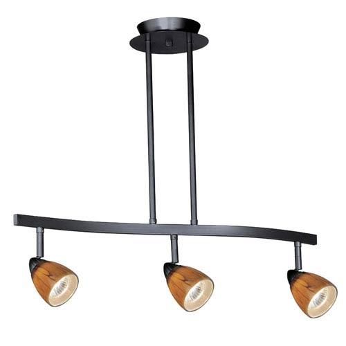 Vaxcel Dark Bronze Three-Light Spot Light Pendant W/ Honey Ripple Glass