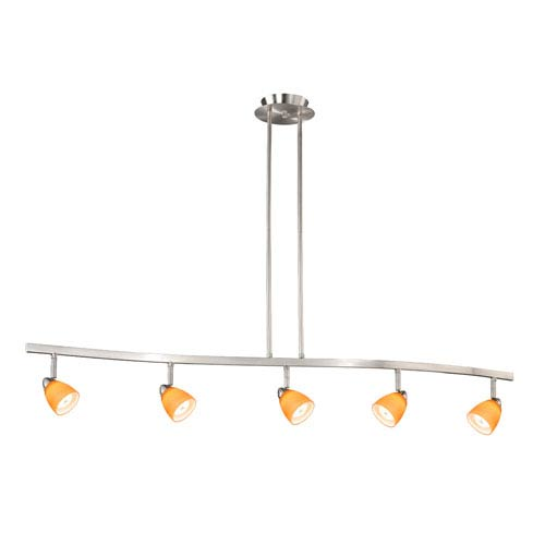 Vaxcel Satin Nickel Five-Light Spot Light Pendant W/ Amber Wiped Glass
