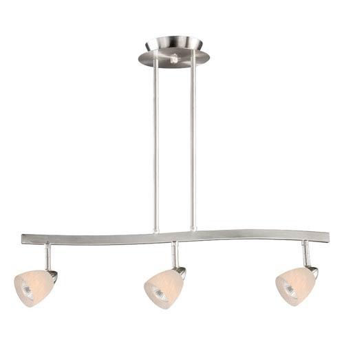 Vaxcel Satin Nickel Three-Light Spot Light Pendant W/ White Umbra Glass