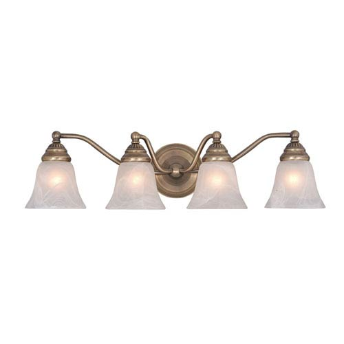 Vaxcel Standford Antique Brass Four-Light Vanity