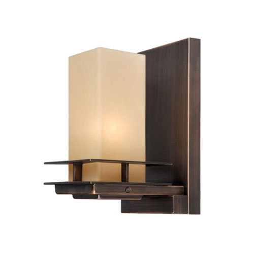 Oak Park Sienna Bronze One-Light Wall Sconce with Umber Etched Glass