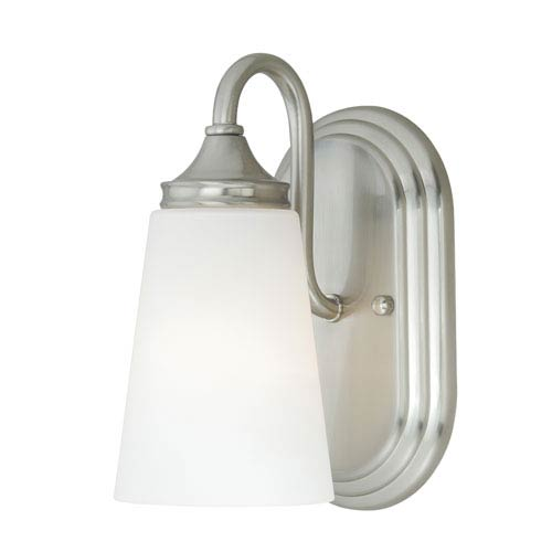 Lorimer Satin Nickel One-Light Vanity Fixture with Frosted Opal Glass