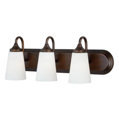 Vaxcel Lorimer Venetian Bronze Three-Light Vanity Fixture with Frosted Opal Glass