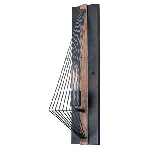 Dearborn Black with Burnished Wood One-Light Wall Light