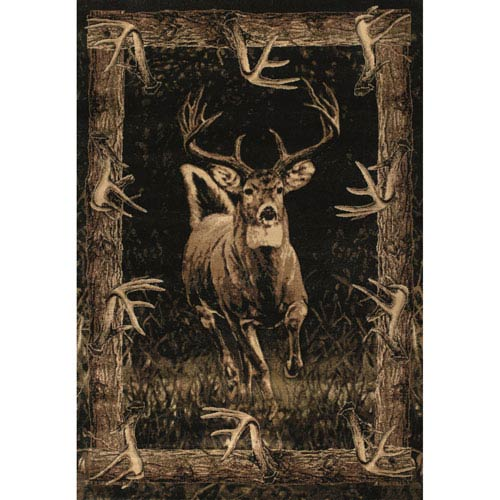 Designer Contours Running Deer Toffee Rectangular: 1 Ft 10 In x 3 Ft Rug
