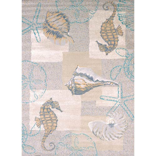 Modern Textures Mystic Sea Natural Rectangular: 5 Ft 3 In x 7 Ft 2 In Rug