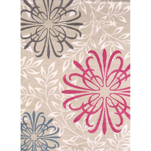 Modern Textures Duvet Natural Rectangular: 5 Ft 3 In x 7 Ft 2 In Rug