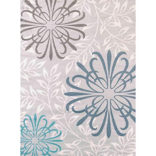 Modern Textures Duvet Blue Rectangular: 5 Ft 3 In x 7 Ft 2 In Rug