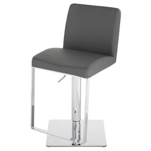 Matteo Dark Gray and Silver Adjustable Stool
