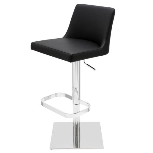 Rome Black and Silver Adjustable Stool