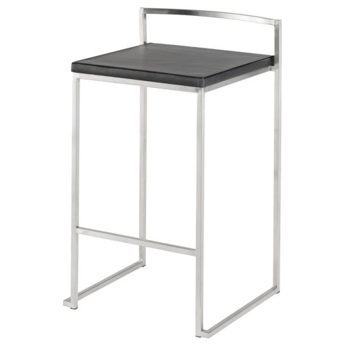 Genoa Black and Silver Counter Stool