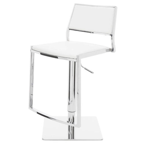 Aaron White and Silver Adjustable Stool