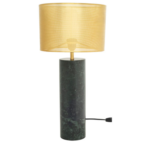 Cyrine Matte Brass and Green Two-Light Table Lamp