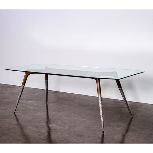Black 103-Inch Dining Table with Tempered Glass