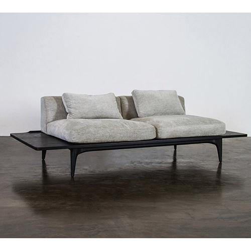 Salk Matte Graphite Triple Seat Sofa