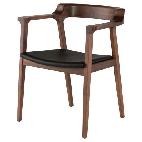 Caitlan Matte Black and Walnut Dining Chair