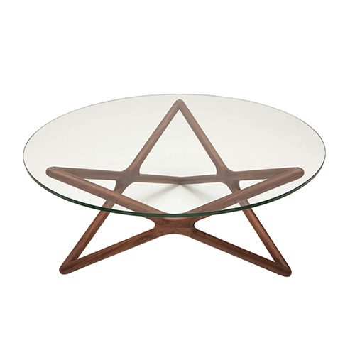 Star Walnut Coffee Table with Tempered Glass