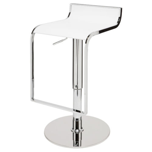 Alexander White and Silver Adjustable Stool
