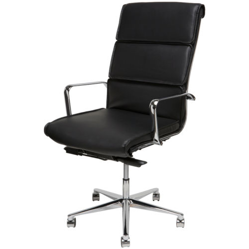 Lucia Matte Black and Silver High Back Office Chair