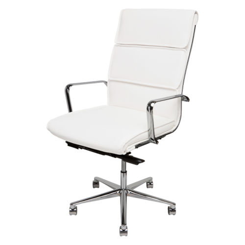 Lucia White and Silver High Back Office Chair