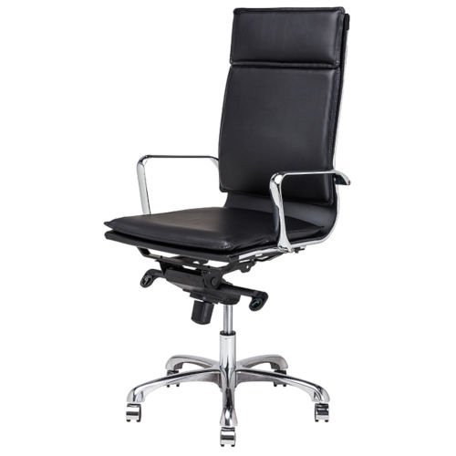 Carlo Black and Silver High Back Office Chair