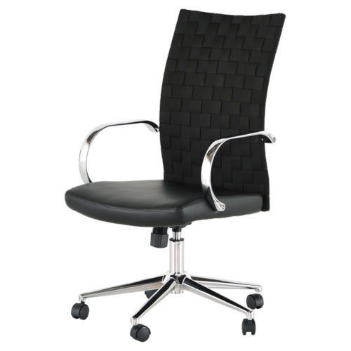 Mia Matte Black and Silver Office Chair