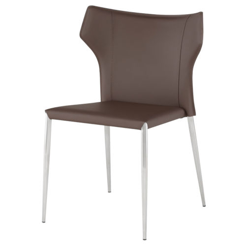 Wayne Dark Brown and Silver Dining Chair