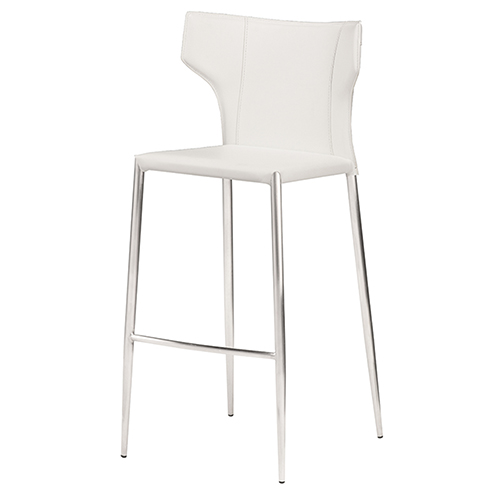 Wayne Matte White and Silver 38-Inch Counter Stool