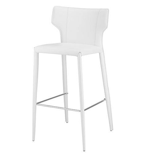 Wayne Matte White 38-Inch Counter Stool